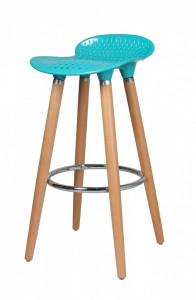 Scaun de bar albastru din lemn de fag si plastic Lea Blue Zago
