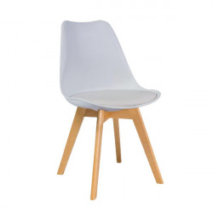 Scaun dining alb din lemn si polipropilena Kris Signal Meble