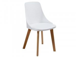 Scaun dining alb din polipropilena si lemn Ina Santiago Pons