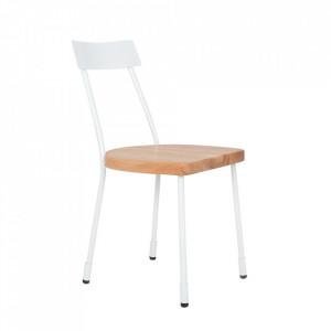 Scaun dining alb/maro din lemn si metal Lena Custom Form