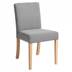 Scaun dining alb/negru din textil si lemn Wilton Custom Form