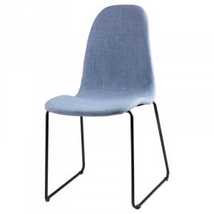 Scaun dining albastru din textil si otel Helena Light Blue Somcasa