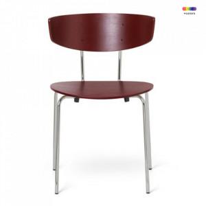 Scaun dining din lemn si metal Herman Red Brown Chrome Ferm Living