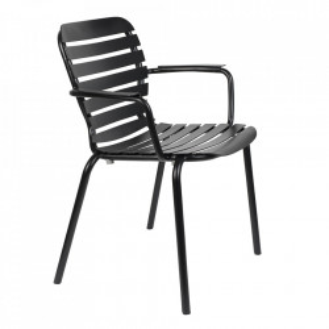 Scaun dining negru din aluminiu pentru exterior Vondel Handle Zuiver