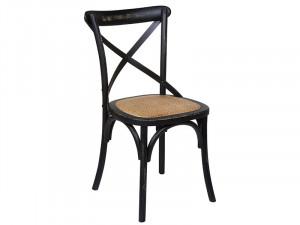 Scaun dining negru din ratan si lemn de ulm Alec Santiago Pons