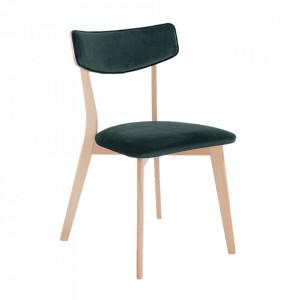 Scaun dining verde din poliester si lemn Tone Custom Form