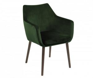 Scaun dining verde inchis/maro inchis din catifea si lemn Nora Actona Company