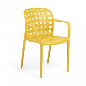 Scaun galben din plastic pentru interior sau exterior Onha La Forma