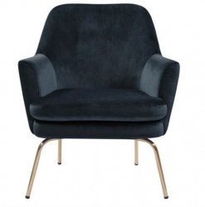 Scaun lounge albastru/maro alama din textil si metal Chisa Navy Blue Brass Actona Company