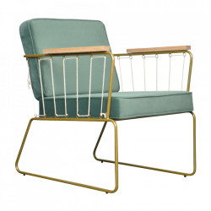 Scaun lounge auriu/verde din lemn si poliester Saxon Opjet Paris