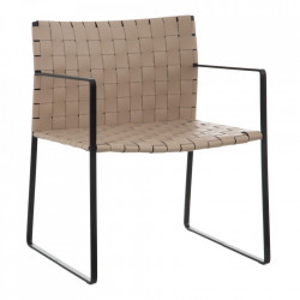 Scaun lounge bej/negru din piele si metal Vente Denzzo