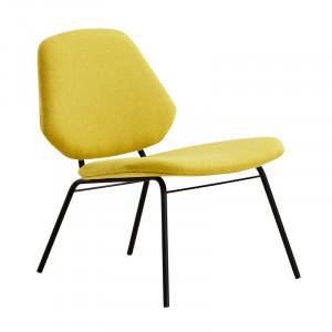 Scaun lounge galben mustar/negru din textil si metal Lean Woud