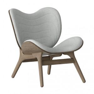 Scaun lounge gri argintiu/maro inchis din poliester si lemn A Conversation Piece Umage