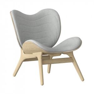 Scaun lounge gri argintiu/maro stejar din poliester si lemn A Conversation Piece Umage