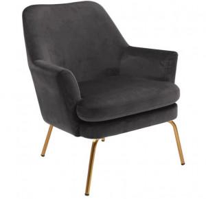 Scaun lounge gri/maro alama din poliester si metal Chisa Dark Grey Brass Actona Company