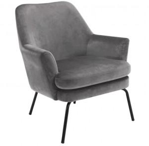 Scaun lounge gri/negru din catifea si metal Chisa Grey Black Actona Company