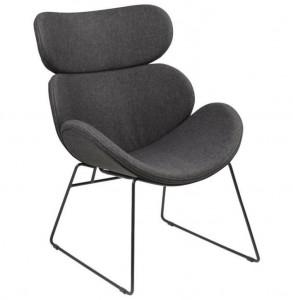Scaun lounge gri/negru din poliester si metal Cazar Grey Black Actona Company