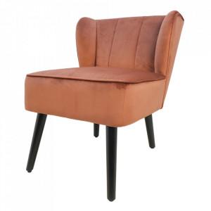 Scaun lounge maro cupru din catifea si metal Cocktail HSM Collection
