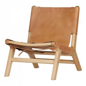 Scaun lounge maro din lemn de fag si piele Buckle Woood