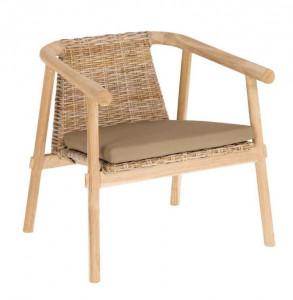 Scaun lounge maro din lemn si fibre naturale Yaira La Forma