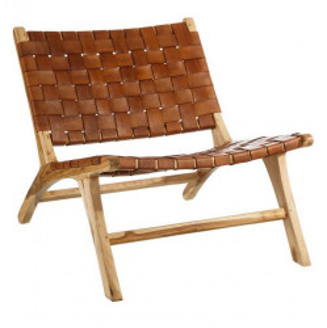 Scaun lounge maro din piele si lemn de tec Yards Denzzo