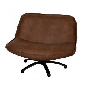 Scaun lounge maro din piele si lemn Forli Mersey LifeStyle Home Collection