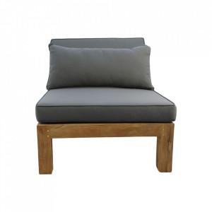 Scaun lounge modular pentru exterior gri/maro din lemn de tec si textil Aruba HSM Collection