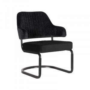 Scaun lounge negru din catifea si metal Otta LABEL51
