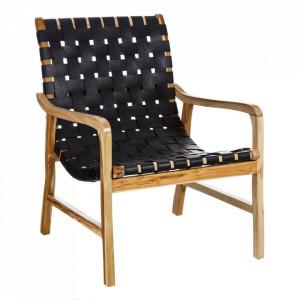 Scaun lounge negru/maro din piele si lemn de tec Kembla Denzzo