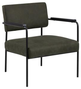 Scaun lounge oliv/negru din textil si metal Cloe Olive Green Black Actona Company