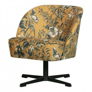 Scaun lounge rotativ galben din otel si catifea Vogue Be Pure Home