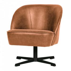 Scaun lounge rotativ maro coniac din piele si poliester Vogue Be Pure Home
