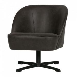 Scaun lounge rotativ negru din piele si poliester Vogue Be Pure Home