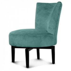Scaun lounge rotativ verde/negru din catifea si lemn Birkin Opjet Paris