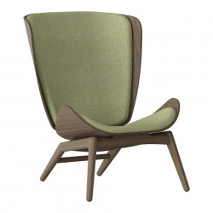 Scaun lounge verde/maro inchis din poliester si lemn The Reader Umage