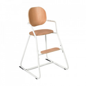 Scaun pentru copii maro/alb din lemn de fag si metal Tibu Charlie Crane
