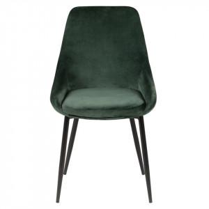 Scaun verde din catifea cu picioare negre Bari Zago