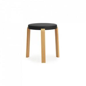 Scaunel rotund negru din lemn 35 cm Tap Normann Copenhagen