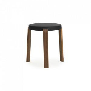 Scaunel rotund negru/maro din lemn 35 cm Tap Normann Copenhagen