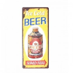 Semn metalic colorat 13x30.5 cm Ice Cold Beer