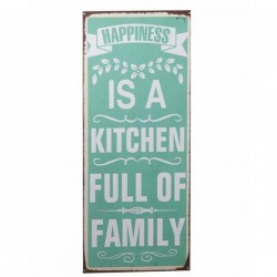 Semn metalic verde 76x30.5 cm Happiness is a Kitchen Full of Family