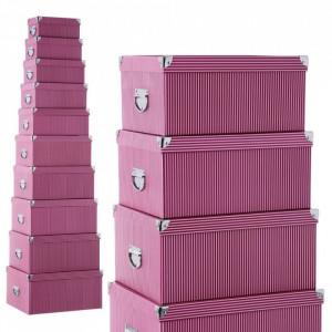 Set 10 cutii cu capac rosii din carton Lines Unimasa