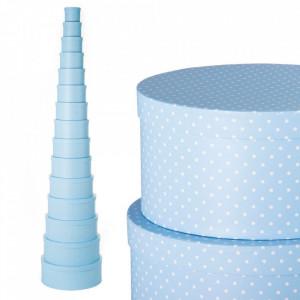 Set 15 cutii cu capac albastre din carton Dots Round Unimasa