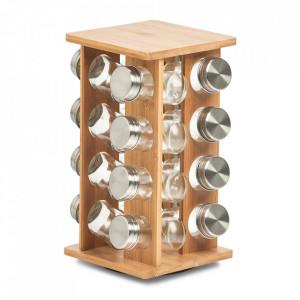 Set 16 recipiente si suport din sticla si lemn pentru condimente Rondell Zeller