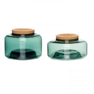 Set 2 borcane din sticla verde cu capac pluta Lid Hubsch