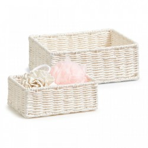 Set 2 cosuri albe din hartie Mesh Storage Baskets White Zeller