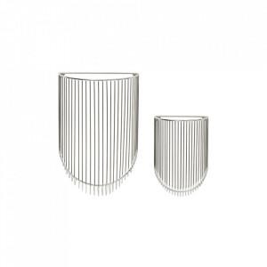 Set 2 cosuri argintii din metal pentru perete Hanging Baskets Hubsch