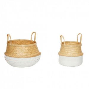 Set 2 cosuri din bambus maro/alb Islay Hubsch