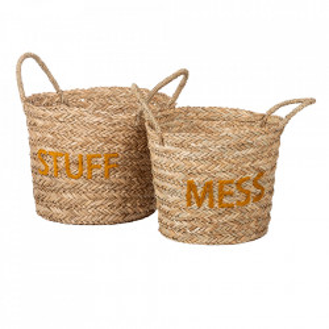 Set 2 cosuri maro/galbene din rachita Messy Stuff Kids Depot