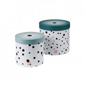 Set 2 cutii albastre cu capac din carton Dots Round Blue Done by Deer